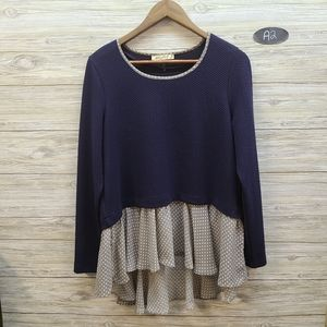 Comme Toi Navy & Beige Long Sleeve Top